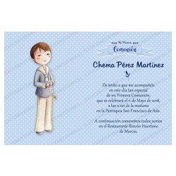 Invitación Primera Comunión niño con Rosario