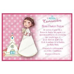 Invitación Primera Comunión niña con Cáliz