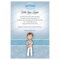 Invitación Primera Comunión niño con Cáliz