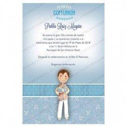 Invitación Primera Comunión niño con Biblia
