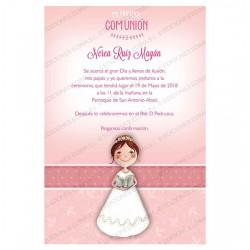 Invitación Primera Comunión niña con Biblia