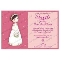 Invitación Primera Comunión niña cesta flores