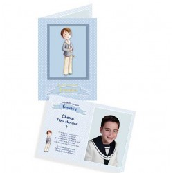 Pack 10 portafotos en cartulina Comunión niño con Rosario