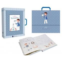 Libro de firmas con maletín Comunión niño con Cáliz