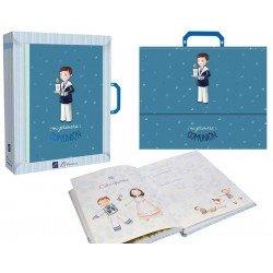 Libro de firmas con maletín Comunión niño con vela