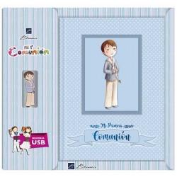 Libro de firmas Comunión con USB niño con Rosario