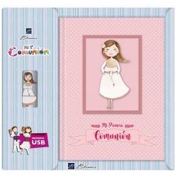 Libro de firmas Comunión con USB niña con Rosario