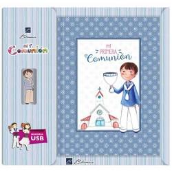 Libro de firmas Comunión niño con Rosario USB