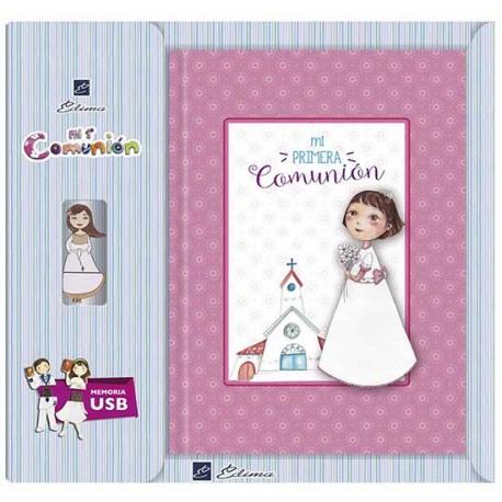 Libro de firmas Comunión con USB niña con flores
