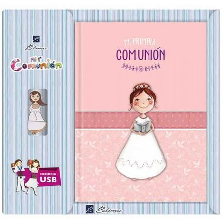 Libro de firmas Comunión con USB. Portada niña con Biblia