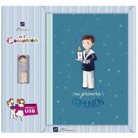 Libro de firmas Comunión con USB niño con vela