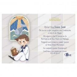Invitación Primera Comunión niño vidriera