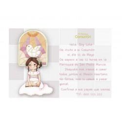 Invitación Primera Comunión niña vidriera