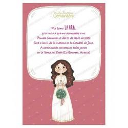 Invitación Primera Comunión niña con ramo
