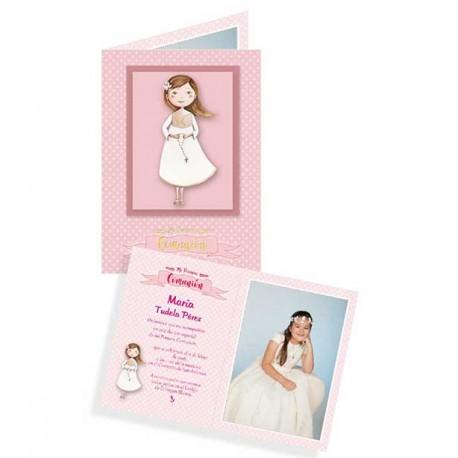 Portafotos en cartulina Comunión niña con Rosario