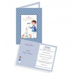Pack 10 Portafotos en cartulina Comunión niño con Cáliz