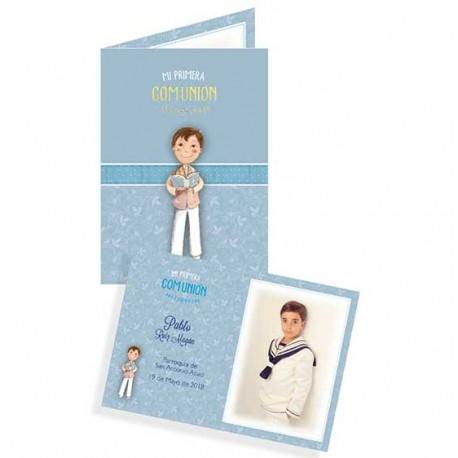 Portafotos para comunión de cartulina, niño con Biblia