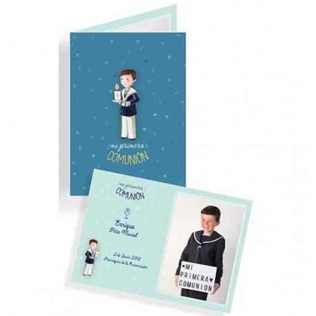 Portafotos para comunión de cartulina, niño con vela