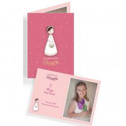 Portafotos en cartulina Comunión niña con cesta flores