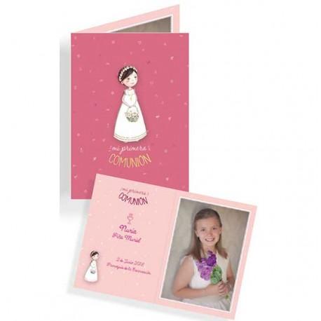 Portafotos en cartulina para Comunión niña con cesta flores