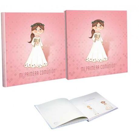 Libro de firmas Comunión con estuche niña con vela