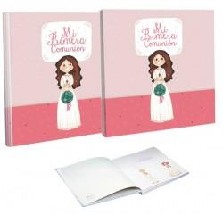 Libro de firmas Comunión con estuche niña con ramo