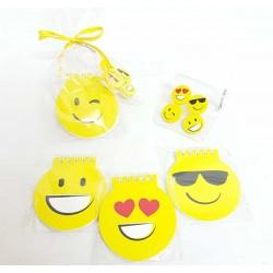 Libreta y set bolsita cuatro gomas emoji
