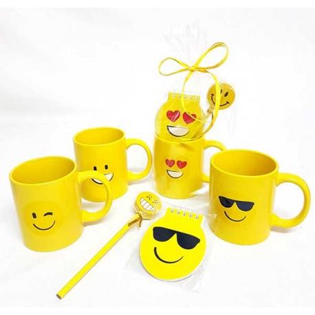 Set para eventos, incluye taza emoji, libreta smile y lápiz con goma grande emoji