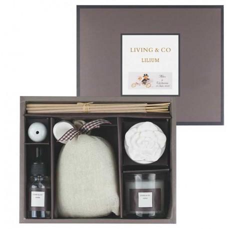 Set aromas Kalma. Incluye vela, incienso, ambientador y bolsita aromática.