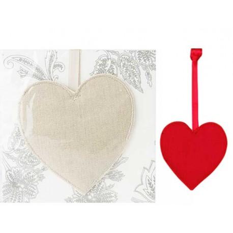 Corazón ambientador con fragancia en bolsita