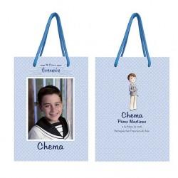 Bolsa azul para niño personalizada con topos