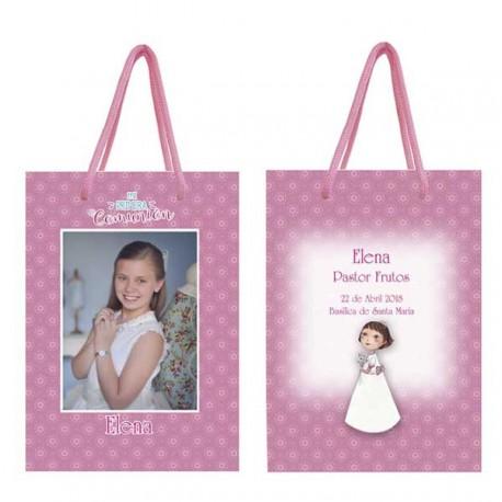 Bolsa para niña personalizada en rosa