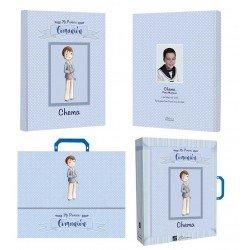 Libro de firmas Comunión personalizado, niño con rosario
