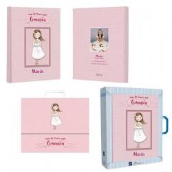Libro de firmas Comunión personalizado niña con rosario