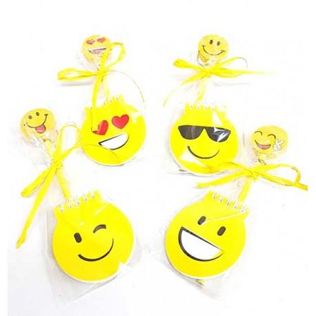 Libreta smile y lápiz con goma grande emoji