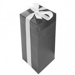 Caja automontable negra con lazo
