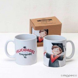 Taza cerámica graduación chico en caja regalo