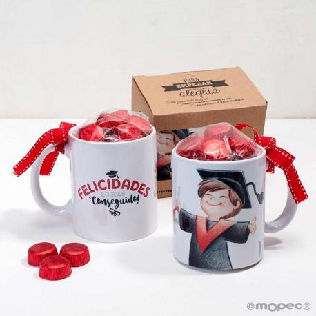 Taza cerámica graduación chico con bombones y en caja regalo