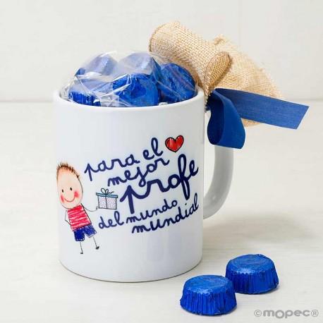 Taza cerámica El Mejor profe con bombones