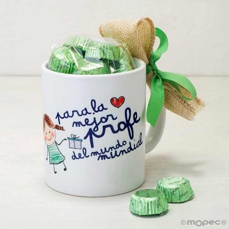 Taza cerámica La Mejor profe con bombones