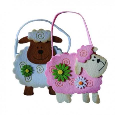 Cesta con forma de oveja de fieltro