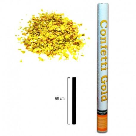 Cañón de aire comprimido, lanzador de confeti dorado