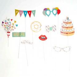 Kit 10 palos photocall para cumpleaños