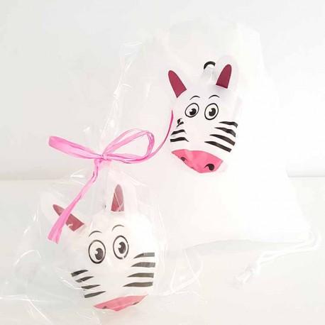 Mochila plegable animales con bolsa y tarjeta Cebra