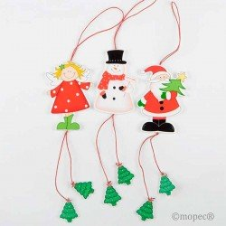Pack 3 colgantes en madera Ángel, Muñeco de nieve y Papá Noel