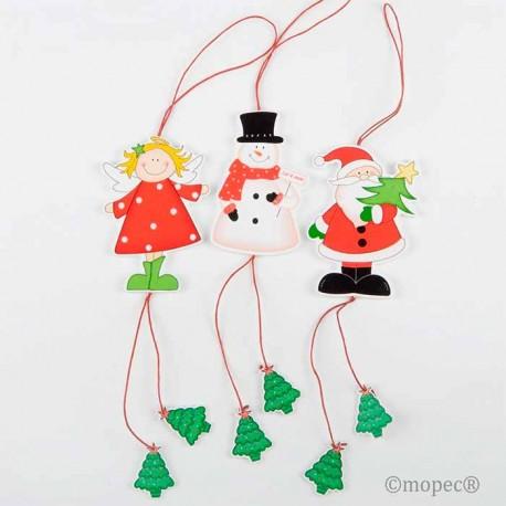 Set 3 colgantes en madera Ángel, Muñeco de nieve y Papá Noel, ideal para decorar el arbol