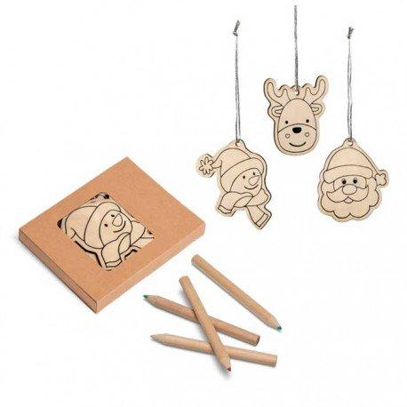 Set en madera para colorear motivos navidad