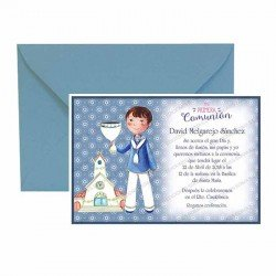 Pack 20 invitaciones Mi Primera Comunión niño con caliz más sobre azul