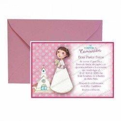 Pack 20 invitaciones Mi Primera Comunión niña con ramo de flores más sobre rosa