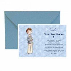 Pack 20 invitaciones Mi Primera Comunión niño con rosario más sobre azul
